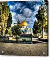 Dome Of The Rock Hdr Acrylic Print by David Morefield