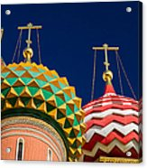 Domes Of Vasily The Blessed Cathedral - Feature 3 Acrylic Print by Alexander Senin