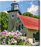 Door County Eagle Bluff Lighthouse Lilacs Acrylic Print by Christopher Arndt