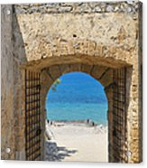 Door To Joy And Serenity - Beautiful Blue Water Is Waiting Acrylic Print by Matthias Hauser