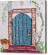 Door With Many Languages Acrylic Print by Stephanie Callsen
