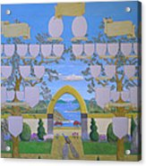 Double Family Tree Chart Mediterranean Garden Acrylic Print by Alix Mordant