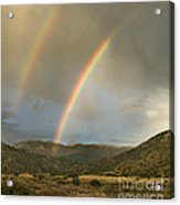 Double Rainbow In Desert Acrylic Print by Matt Tilghman