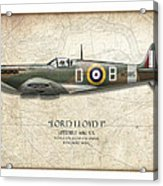Douglas Bader Spitfire - Map Background Acrylic Print by Craig Tinder