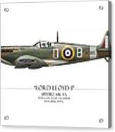 Douglas Bader Spitfire - White Background Acrylic Print by Craig Tinder