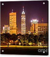 Downtown Indianapolis Skyline At Night Picture Acrylic Print by Paul Velgos