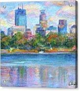 Downtown Minneapolis Skyline From Lake Calhoun Acrylic Print by Quin Sweetman