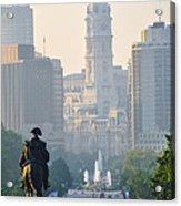 Downtown Philadelphia - Benjamin Franklin Parkway Acrylic Print by Simon Wolter