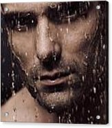 Dramatic Portrait Of Man Face With Water Pouring Over It Acrylic Print by Oleksiy Maksymenko