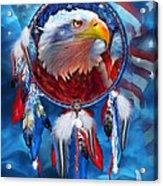 Dream Catcher - Eagle Red White Blue Acrylic Print by Carol Cavalaris