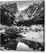 Dream Lake Reflection Black And White Acrylic Print by Aaron Spong