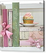 Dreamy Romantic Pastel Shabby Chic Cottage Chic Books With Pink Cupcake - Food Photography Acrylic Print by Kathy Fornal