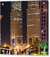 Dubai Business Towers Acrylic Print by Zaharra Hemani