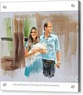 Duke And Duchess Of Cambridge With Their New Son Acrylic Print by Roger Lighterness