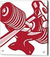 Dumbbell Anvil And Sledgehammer Retro Acrylic Print by Aloysius Patrimonio