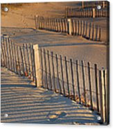 Dune Fences Early Morning Acrylic Print by Steven Ainsworth