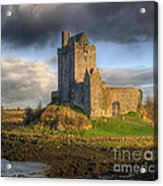 Dunguaire Castle With Dramatic Sky Kinvara Galway Ireland Acrylic Print by Juli Scalzi