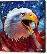 Eagle Red White Blue 2 Acrylic Print by Carol Cavalaris