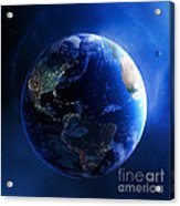 Earth And Galaxy With City Lights Acrylic Print by Johan Swanepoel