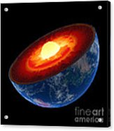 Earth Core Structure To Scale - Isolated Acrylic Print by Johan Swanepoel