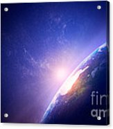 Earth Sunrise In Foggy Space Acrylic Print by Johan Swanepoel