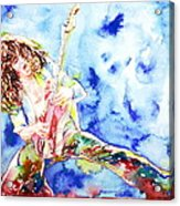 Eddie Van Halen Playing The Guitar.1 Watercolor Portrait Acrylic Print by Fabrizio Cassetta