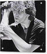 Eddie Vedder Black And White Acrylic Print by Joshua Morton