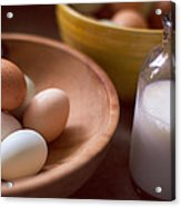 Eggs Bowls And Milk Acrylic Print by Toni Hopper