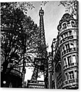 Eiffel Tower Black And White Acrylic Print by Andrew Fare