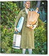 Elderly Shopper Statue Key West - Hdr Style Acrylic Print by Ian Monk