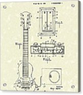 Electric Guitar 1937 Patent Art Acrylic Print by Prior Art Design