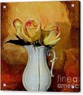 Elegant Triple Roses Acrylic Print by Marsha Heiken