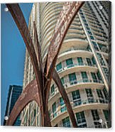 Element Of Duenos Do Los Estrellas Statue With Miami Downtown In Background  Acrylic Print by Ian Monk