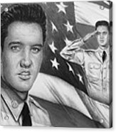 Elvis Patriot Bw Signed Acrylic Print by Andrew Read