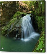 Emerald Waterfall Acrylic Print by Davorin Mance