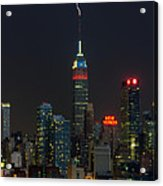 Empire State Building Lightning Strike I Acrylic Print by Clarence Holmes