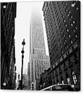 Empire State Building Shrouded In Mist And Nyc Bus Taken From 34th And Broadway Nyc New York City Acrylic Print by Joe Fox