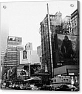 empire state building shrouded in mist from west 34th Street and 7th Avenue King Kong movie poster Acrylic Print by Joe Fox