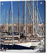Empty Masts In Vieux Port Acrylic Print by John Rizzuto