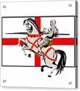 English Knight Lance Horse England Flag Side Retro Acrylic Print by Aloysius Patrimonio