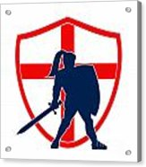 English Knight Silhouette England Flag Retro Acrylic Print by Aloysius Patrimonio