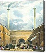 Entrance Of The Railway At Edge Hill Acrylic Print by Thomas Talbot Bury