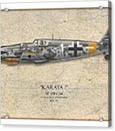Erich Hartmann Messerschmitt Bf-109 - Map Background Acrylic Print by Craig Tinder