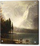 Estes Park Colorado Whytes Lake Acrylic Print by Albert Bierstadt