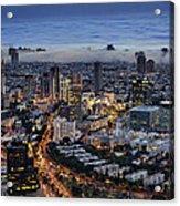 Evening City Lights Acrylic Print by Ron Shoshani