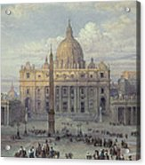 Exterior Of St Peters In Rome From The Piazza Acrylic Print by Louis Haghe