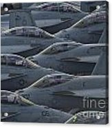 Fa18 Super Hornets Sit On The Flight Deck Of The Aircraft Carrier Uss Enterprise  Acrylic Print by Paul Fearn