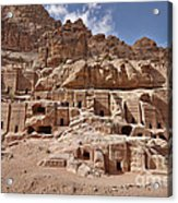 facade street in Nabataean ancient town Petra Acrylic Print by Juergen Ritterbach