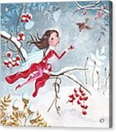 Fairy With Berries Acrylic Print by Caroline Bonne-Muller