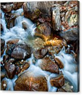 Falls And Rocks Acrylic Print by Cat Connor